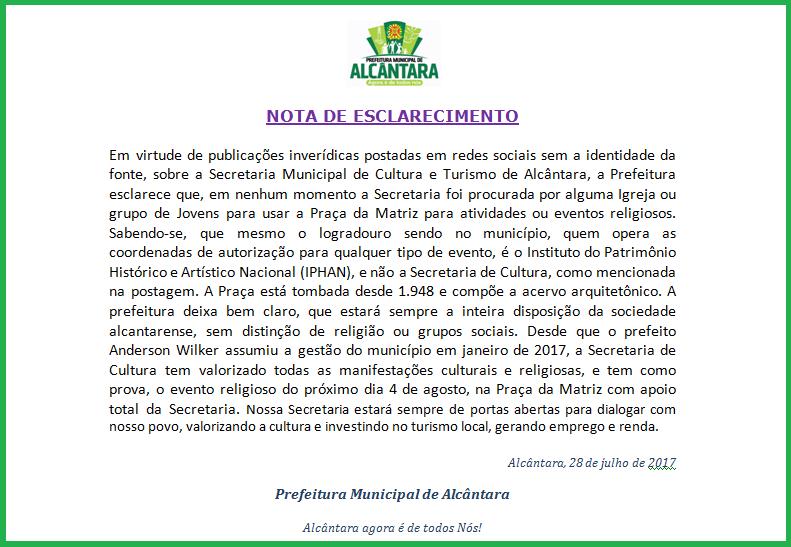 Photo of Prefeitura de Alcântara divulga Nota de Esclarecimento sobre publicações inverídicas no Facebook