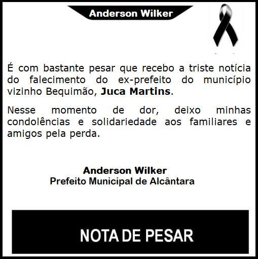 Photo of Prefeito de Alcântara divulga nota de pesar pelo falecimento de Juca Martins