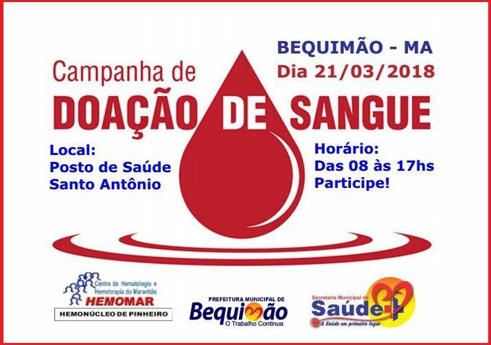 Photo of Município de Bequimão adere Campanha de Doação de Sangue que acontecerá no próximo dia 21