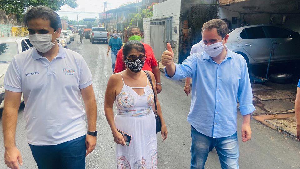 Photo of Vereadora Fátima Araújo e prefeito Edivaldo Holanda Jr vistoriam obra de pavimentação asfáltica no Anil